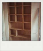 Built in Oak veneered pigeon hole units.(1)