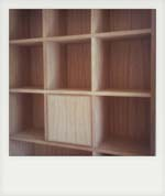 Built in Oak veneered pigeon hole units.(3)
