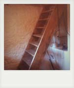 Hand made rustic staircase in old cottage. Petworth.