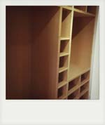 Walk in wardrobe furniture, purpose made to customers drawings.