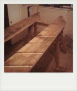 Rustic oak staircase construction.