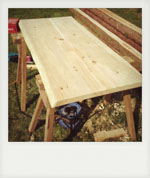Cedar table top. Denmead, Hampshire